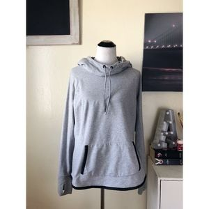 ATHLETE light grey curved hem drawstring hoodie